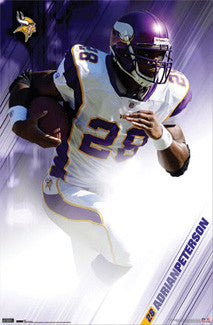 "Adrian Peterson ""Purple Power"" Minnesota Vikings NFL Action Poster - Costacos Sports"