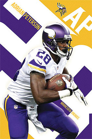 "Adrian Peterson ""Golden Star"" Minnesota Vikings NFL Action Poster - Costacos 2013"