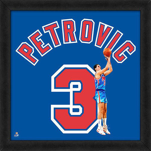 "Drazen Petrovic ""Number 3"" New Jersey Nets NBA FRAMED 20x20 UNIFRAME PRINT - Photofile"