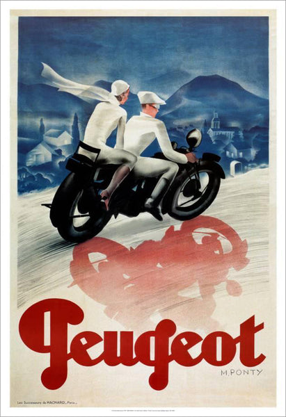"Peugeot Motorcycles ""Night Ride Through France"" 1935 (Artist Max Ponty) Vintage XL Poster Reproduction - Pro Artis"