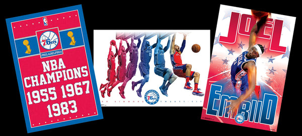 COMBO: Philadelphia 76ers Basketball 3-Poster Combo Set (Embiid, Simmons, Championships Posters)