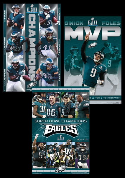 COMBO: Philadelphia Eagles Super Bowl LII Champions (2018) 3-Poster Combo Set