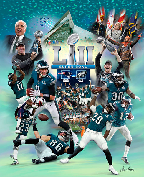 "*SHIPS 2/27* Philadelphia Eagles Super Bowl LII (2018) ""The Eagle Moment"" Premium Art Collage Poster - Wishum Gregory"