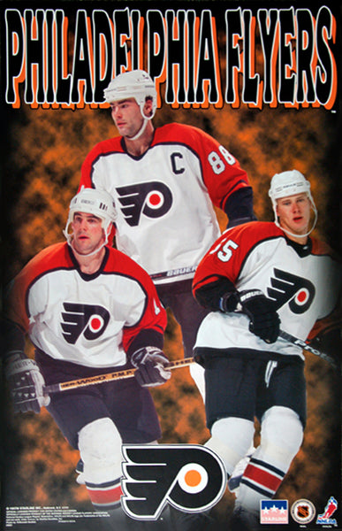 "Philadelphia Flyers ""Three Stars"" Poster (Eric Lindros, John LeClair, Chris Gratton) - Starline Inc. 1997"