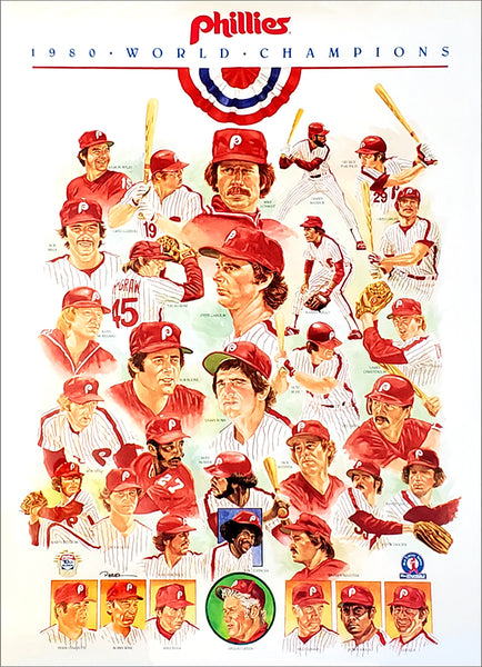 Philadelphia Phillies 1980 World Series Champions Commemorative Team Poster - Equitable Old-Timers Series 1990