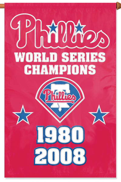 fdbd0d445f9 Philadelphia Phillies World Series Championship Years Premium Applique  Banner Flag - Party Animal Inc. – Sports Poster Warehouse