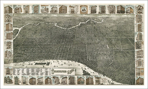 Philadelphia, Pennsylvania 1885 Classic Aerial Map Premium Poster Print (Burk and McFetridge)