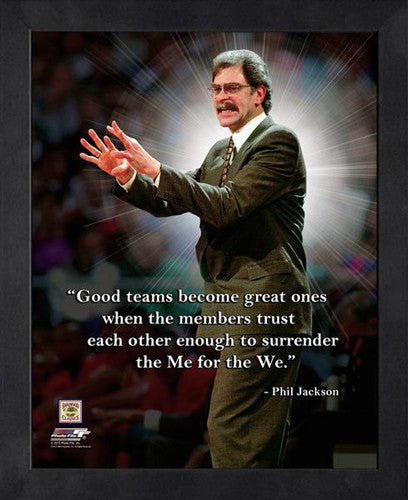 "Phil Jackson ""Me to We"" Chicago Bulls Coach FRAMED 16x20 PRO QUOTES PRINT - Photofile"