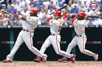 "Philadelphia Phillies ""3-Man Blast"" (Howard, Utley, Rollins) Poster - Costacos Sports"