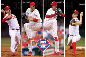 "Philadelphia Phillies ""Four Aces"" Poster (Halladay, Lee, Hamels, Oswalt) - Costacos 2011"