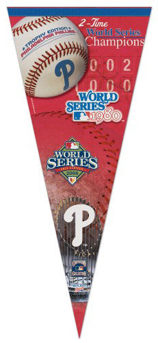 Philadelphia Phillies 2-Time World Champs EXTRA-LARGE Premium Pennant