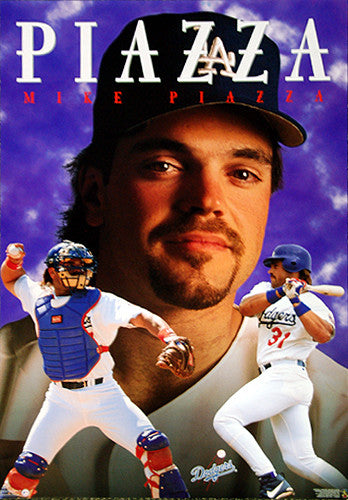"Mike Piazza ""Dodgers Superstar"" (1998) Vintage Original Poster - Costacos Brothers"