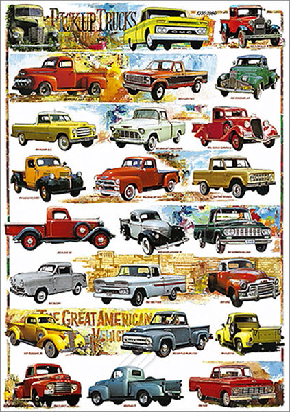 Great American Pickup Trucks 1931-1980 (24 Classic Vehicles) Automotive History Poster - Eurographics Inc.