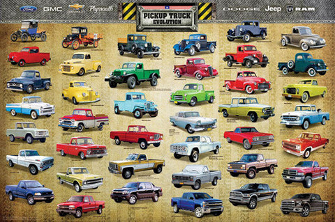 "Pickup Trucks ""Evolution"" (41 Classic American Vehicles) Autophile History Poster - Eurographics Inc."