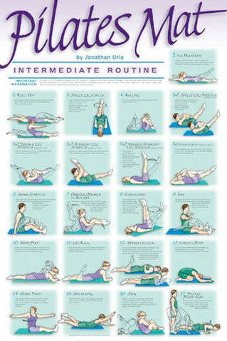 Pilates Mat Workout (Intermediate) Professional Fitness Wall Chart Poster - VHI
