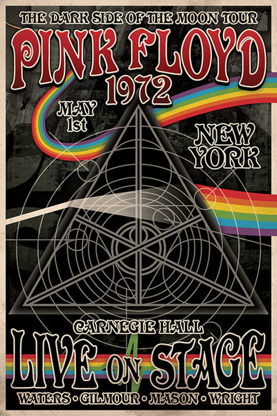 "Pink Floyd ""Dark Side of the Moon Live '72"" Classic Concert Poster - Aquarius Images"