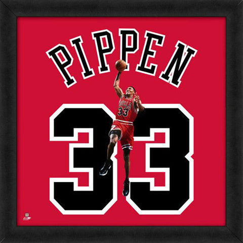 "Scottie Pippen ""Number 33"" Chicago Bulls NBA FRAMED 20x20 UNIFRAME PRINT - Photofile"
