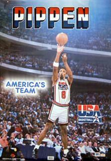 "Scottie Pippen ""America's Team"" (1992) Olympic Team Action Poster - Starline Inc."