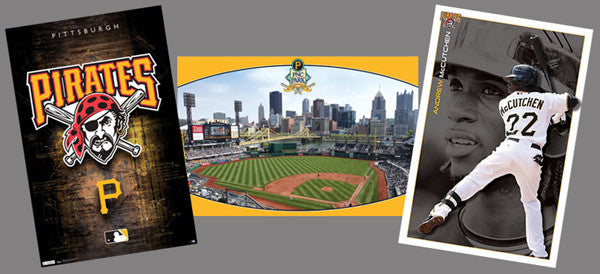 COMBO: Pittsburgh Pirates Official 3-Poster Combo Set (Logo, Stadium, McCutchen)