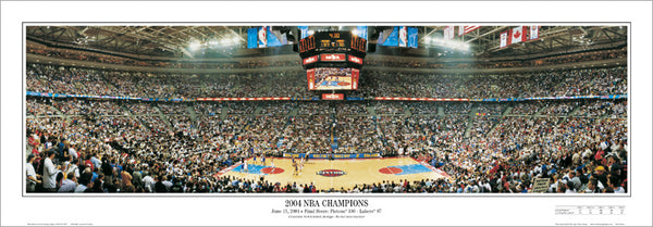 Detroit Pistons 2004 NBA Champions Finals Game Night Panoramic Poster Print - Everlasting Images