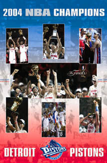 "Detroit Pistons 2004 NBA Champions ""Celebration"" Commemorative Poster - Costacos"