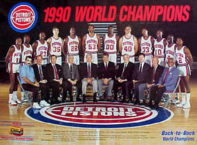 Detroit Pistons 1990 World Champions Team Commemorative Poster - Pistons/Kodak