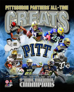 Pitt Panthers All-Time Greats (9 Legends, 9 Championships) Premium Poster Print - Photofile Inc.