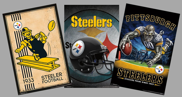 COMBO: Pittsburgh Steelers NFL Football 3-Poster Combo (Retro Logo, Helmet Logo, Theme Art)