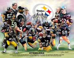 "Pittsburgh Steelers ""18 Legends"" Art Collage Poster Print - Wishum Gregory"