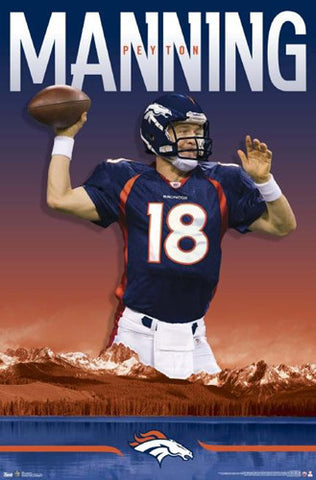 "Peyton Manning ""Mile High Monster"" Denver Broncos NFL Action Poster - Costacos 2012"