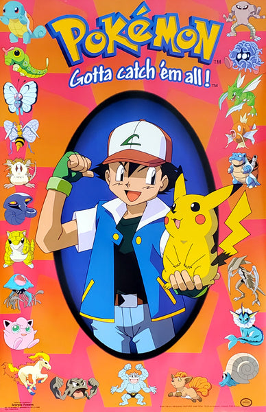"Pokemon ""Ash Champion"" Gotta Catch 'Em All Poster - Scorpio Posters 1999"