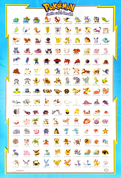 "Pokemon Species #1-150 ""Gotta Catch 'Em All"" Wall Chart Poster - Scorpio Posters 1998"