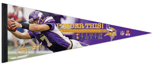 "Christian Ponder ""Ponder This!"" Minnesota Vikings Premium Felt Collector's Pennant - Wincraft"