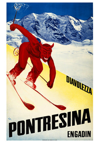 "Skiing in Diavolezza, Pontresina, Switzerland ""She-Devil Downhill"" c.1950 Vintage Poster Reprint"