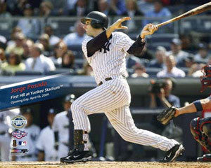 Jorge Posada 1st HR at New Yankee Stadium (2009) Premium Poster Print- Photoflie 16x20