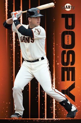 "Buster Posey ""Blast"" San Francisco Giants Official MLB Baseball Action Poster - Trends 2016"