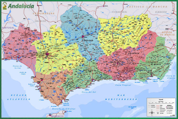 Map of Andalucia (Southern Spain) Wall Chart Poster (Provinces, Capitals, Cities, Roads, Rivers, etc.) - Grupo Erik