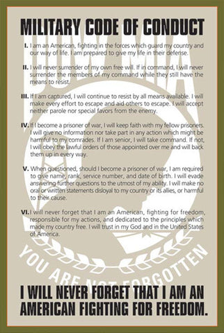 "POW-MIA ""Fighting for Freedom"" Military Code of Conduct Poster - American Image"