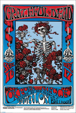 "The Grateful Dead ""Bones and Roses"" (1966) Concert Poster Reproduction - Pyramid Posters"