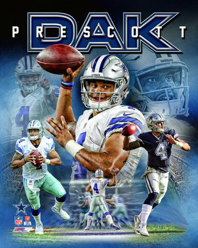 "Dak Prescott ""Power Profile"" Dallas Cowboys Premium NFL Poster Print - Photofile 16x20"