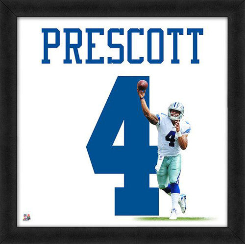"Dak Prescott ""Number 4"" Dallas Cowboys NFL FRAMED 20x20 UNIFRAME PRINT - Photofile"