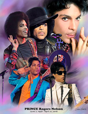 Prince Rogers Nelson (1958-2016) Music Career Art Collage Poster Print - Wishum Gregory