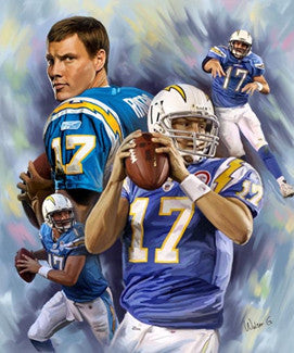 "Philip Rivers ""Blue Bomber"" San Diego Chargers Premium Poster - Walter G. Art 2010"