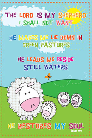 "Psalm 23 ""Mellow Sheep"" Biblical Inspirational Poster - Slingshot Publishing"