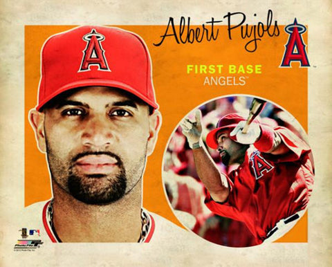 "Albert Pujols ""Retro SuperCard"" L.A. Angels Premium Poster Print - Photofile 16x20"