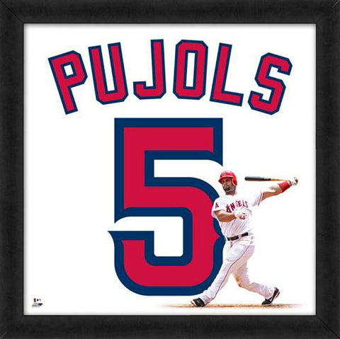 "Albert Pujols ""Number 5"" Los Angeles Angels MLB FRAMED 20x20 UNIFRAME PRINT - Photofile"