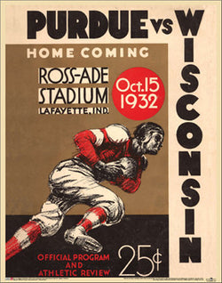 Purdue Boilermakers 1932 Vintage Program Cover Poster Reprint