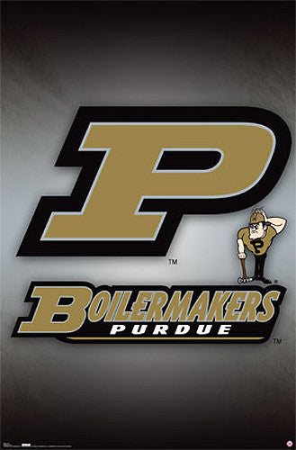 Purdue Boilermakers Official NCAA Team Logo Poster - Costacos Sports