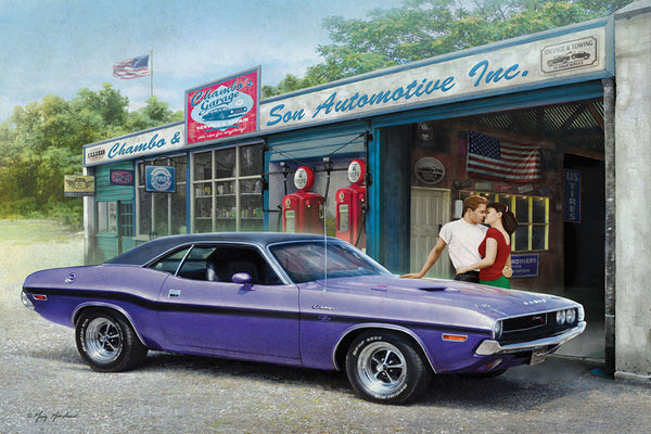 "Purple Dodge Challenger at Garage ""American Dream"" Poster by Greg Giordano - Eurographics Inc."