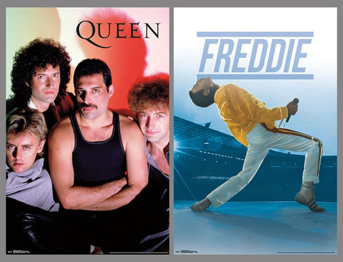 COMBO: Queen (Freddie Mercury, Brian May, John Deacon, Robert Taylor) Classic 1980s Rock Band Music Posters